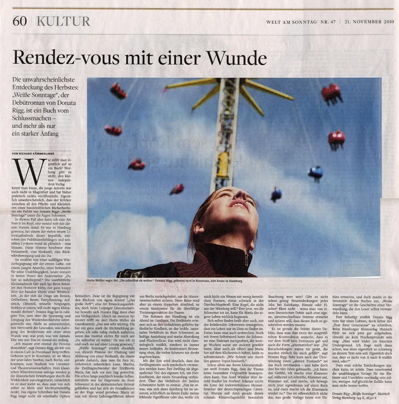 """Rezension zu Donata Riggs Roman """"Weiße Sonntage"""" in der Welt am Sonntag"""